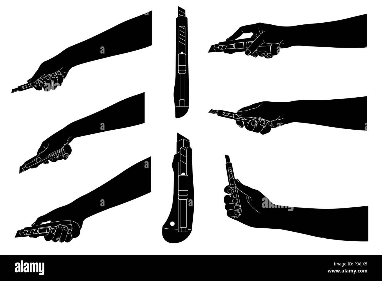 Hand Holding Razor Blade On Imágenes De Stock   Hand Holding Razor ... 1bc58cf8bbb1