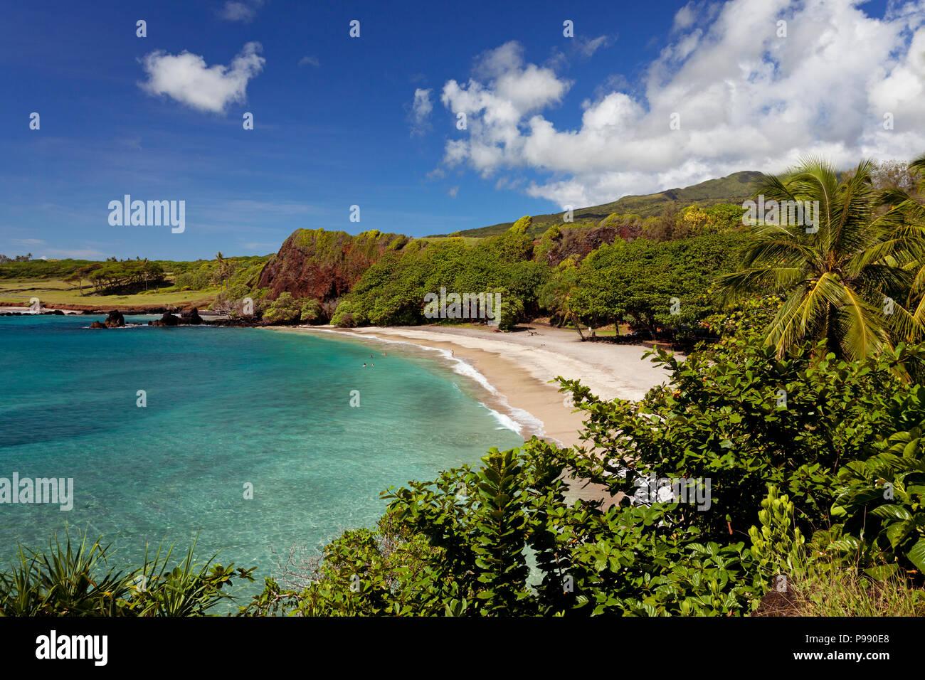 Hermoso día en Hamoa Beach, Hana, Maui. Hamoa es una de las mejores playas de Hana. Imagen De Stock
