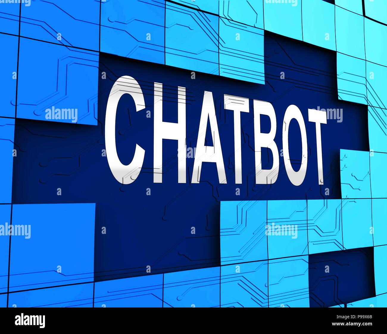 Icono de chat Bot Ayudante Chatbot Artificial 3D Rendering Shows Online Robot apoyo y automatización de robots virtuales Foto de stock