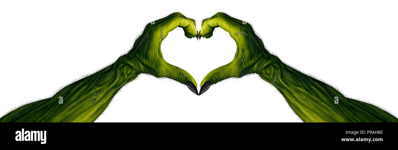 El monstruo de las manos en forma de corazón como zombie dedos con área en blanco como un símbolo o Scary Halloween espeluznante con textura de piel verde. Imagen De Stock
