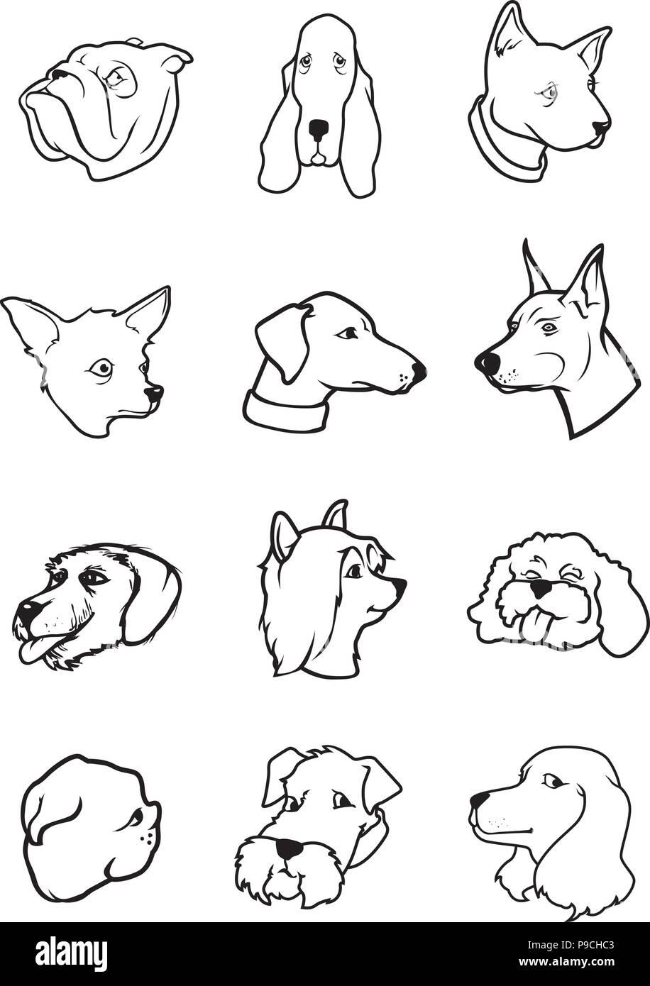 Ilustración Vectorial De Dibujos Animados De Perro Blanco Y Negro