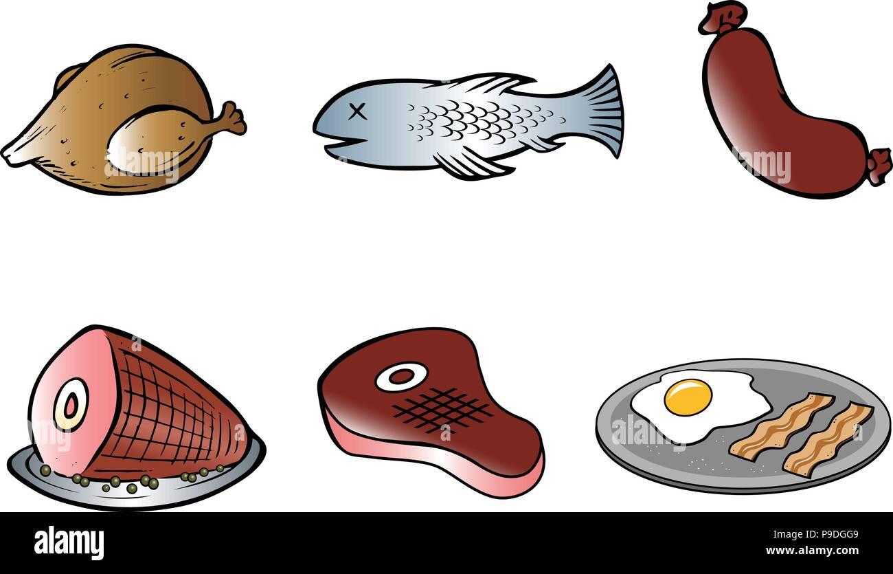 Carnes De Dibujos Animados Colección Ilustración Del Vector Imagen
