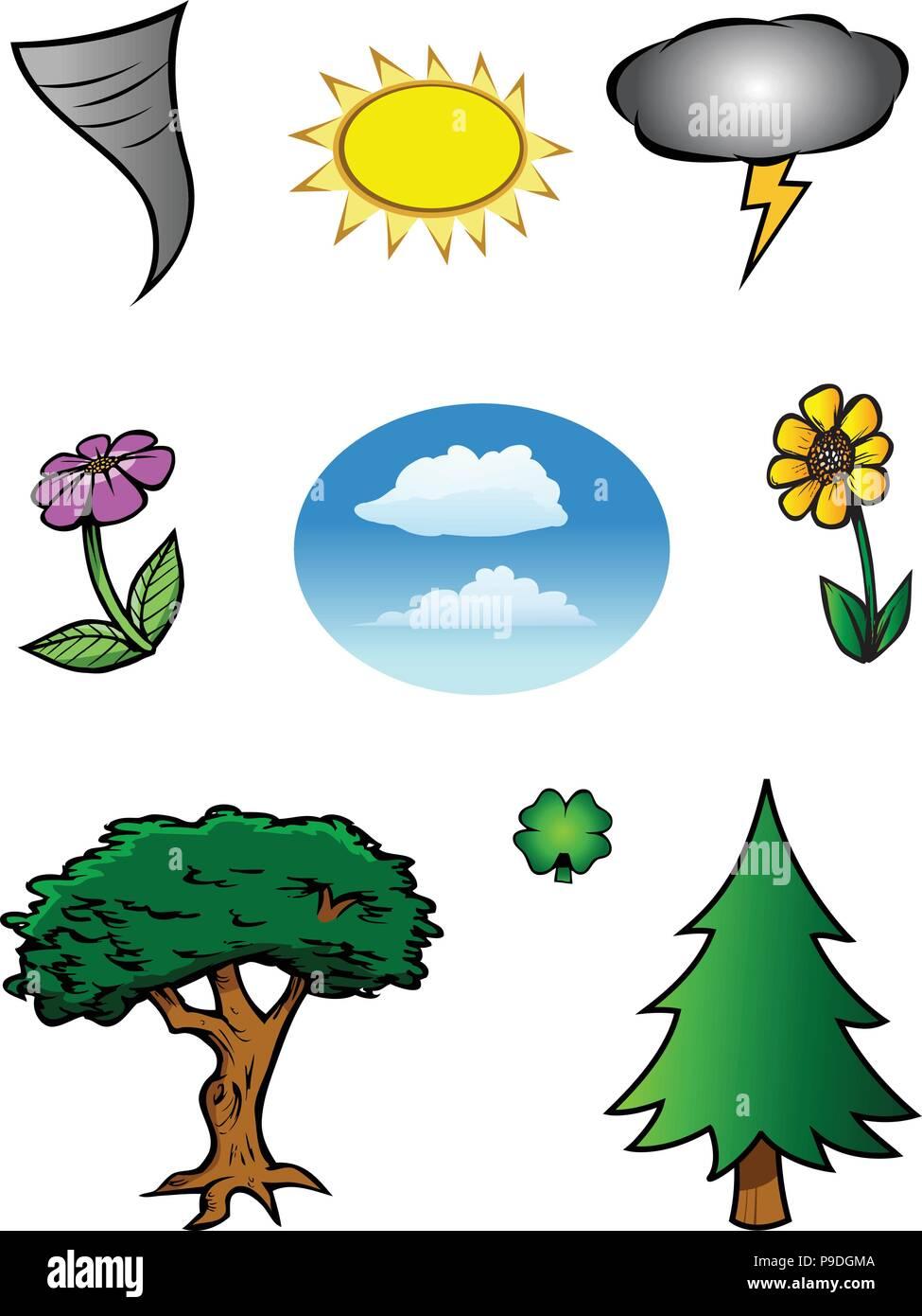 Colección De Dibujos Animados De La Naturaleza Ilustración Del