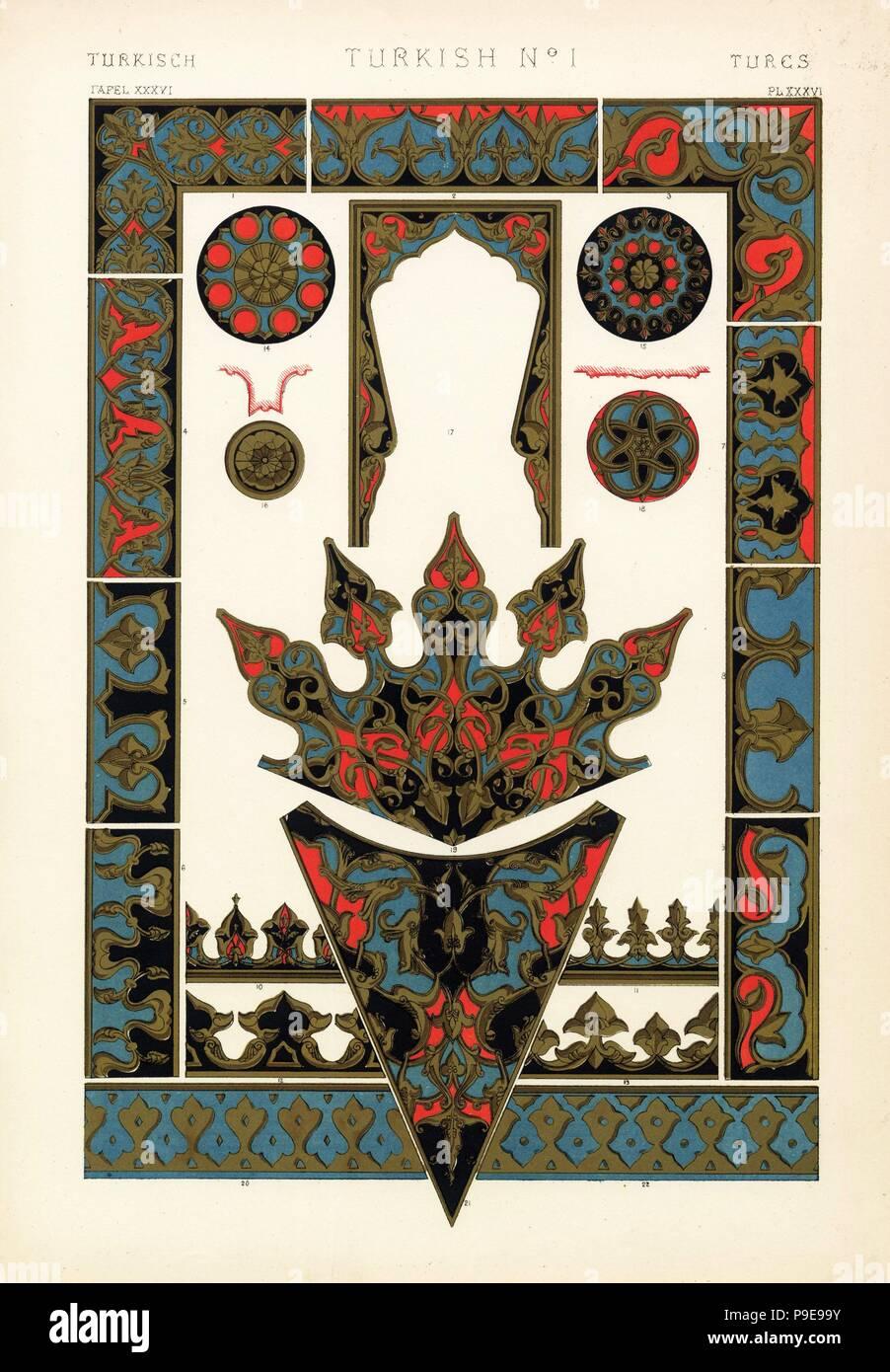 Adornos de alivio de mezquitas, tumbas y fuentes en Constantinopla (Estambul). Fuente en Pera 1,2,3,16,18, la Mezquita del Sultán Achmet 4, tumbas 5,6,7,8,13, tumba del sultán Solimán I 9,12,14,15, Yeni D'jami 10,11,17,19,21, y fuente en Tophana 20,22. Por Francis Chromolithograph Bedford de Owen Jones' La Gramática del Ornamento, Quaritch, Londres, 1868. Foto de stock