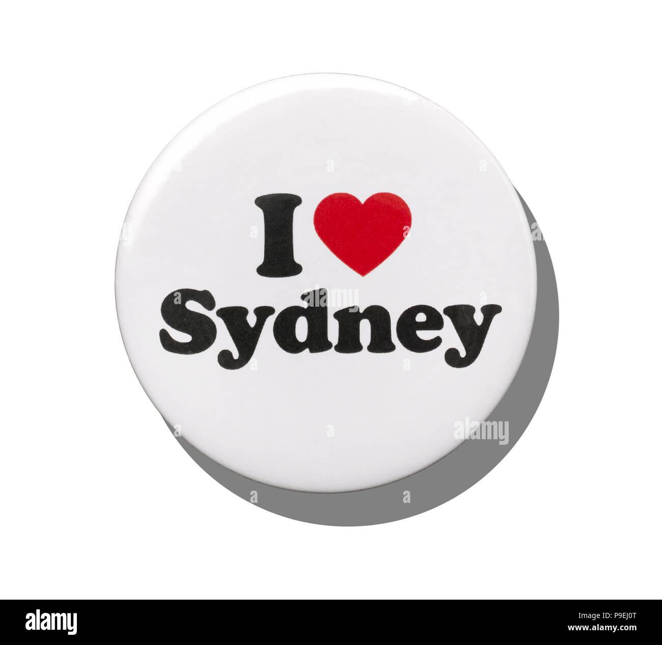 Un blanco me encanta insignia de Sydney Foto de stock