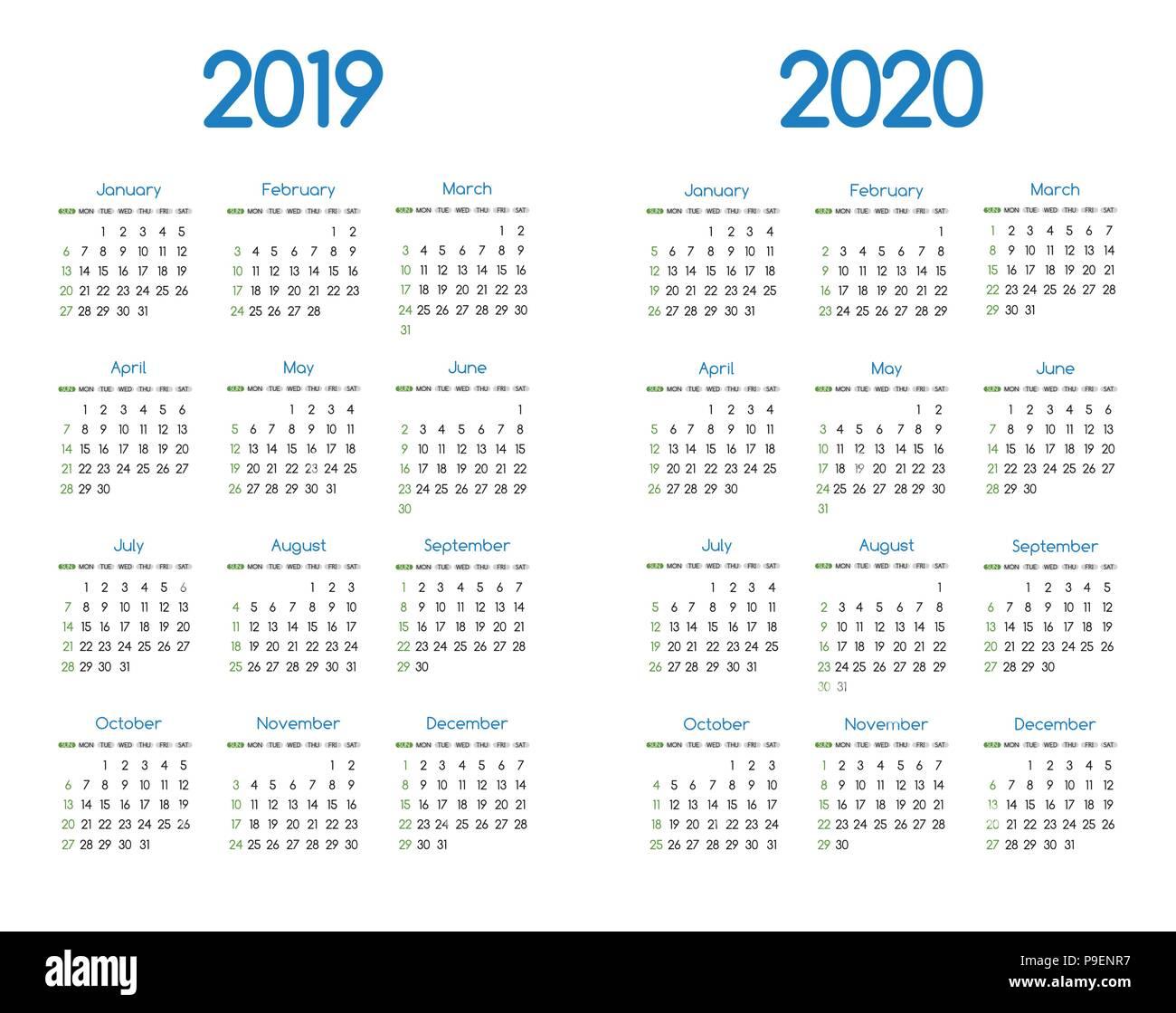 Calendario Anual 2020 Para Imprimir.Calendar 2020 Imagenes De Stock Calendar 2020 Fotos De Stock Alamy