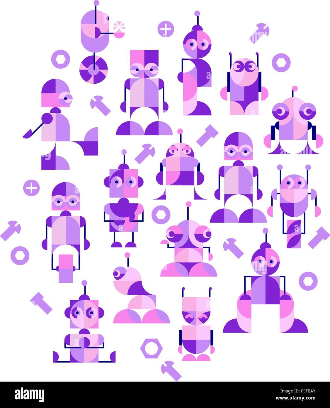 Guarderia Infantil De Trama De Fondo Sin Fisuras Con Robots