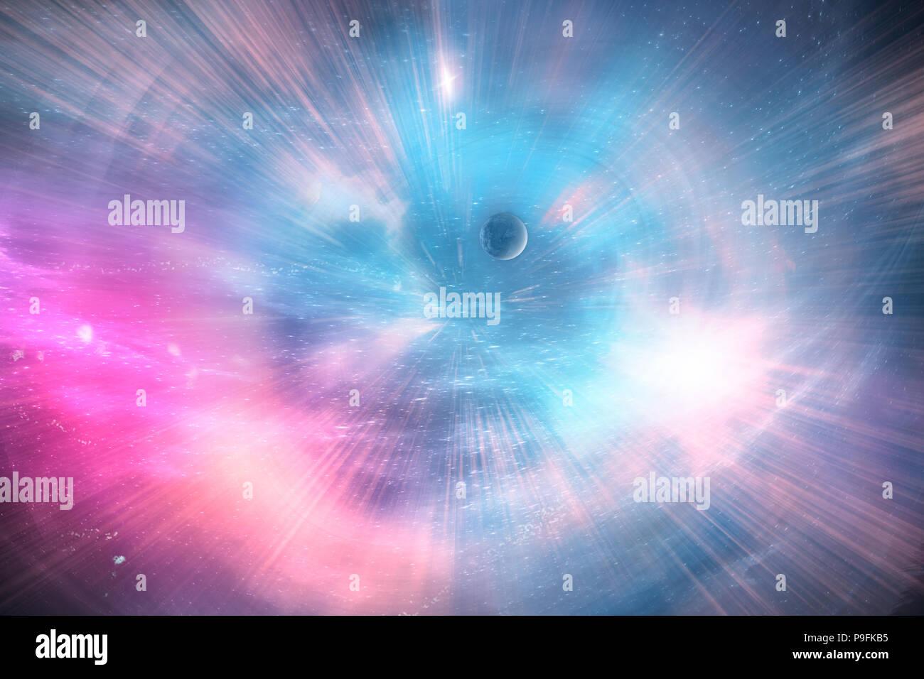 Arte celeste, las estrellas y las galaxias en el espacio ultraterrestre, mostrando la belleza de la exploración espacial. 3D Render, Ilustración 3d Imagen De Stock