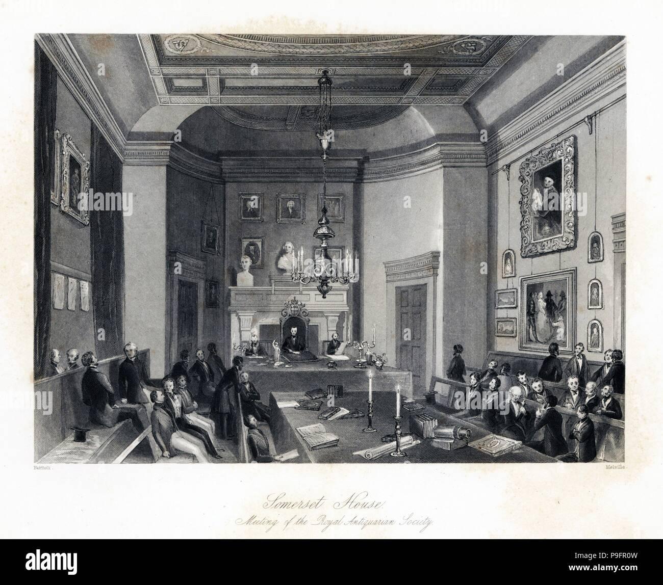 Reunión de la Real Sociedad anticuaria en Somerset House. Acero grabado por Henry Melville después una ilustración por Fairholt desde Londres interiores, sus trajes y ceremonias, Josué Mead, Londres, 1841. Imagen De Stock