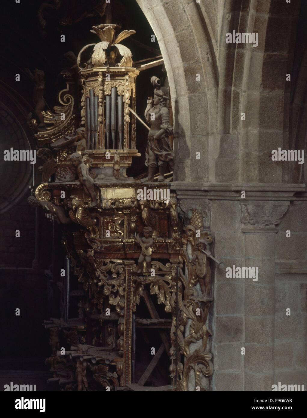 ORGANO. Ubicación: Catedral, Tuy, Pontevedra. Imagen De Stock