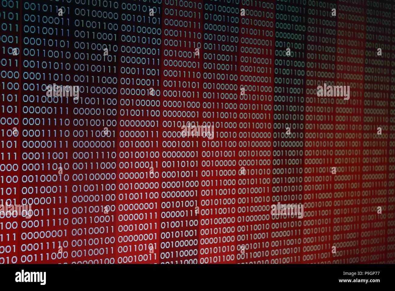 Rojo los números de código binario de bits de datos de información de fondo con rescate texto en la línea de codificación. Equipo de rescate sistema violado virus conceptos falla Imagen De Stock