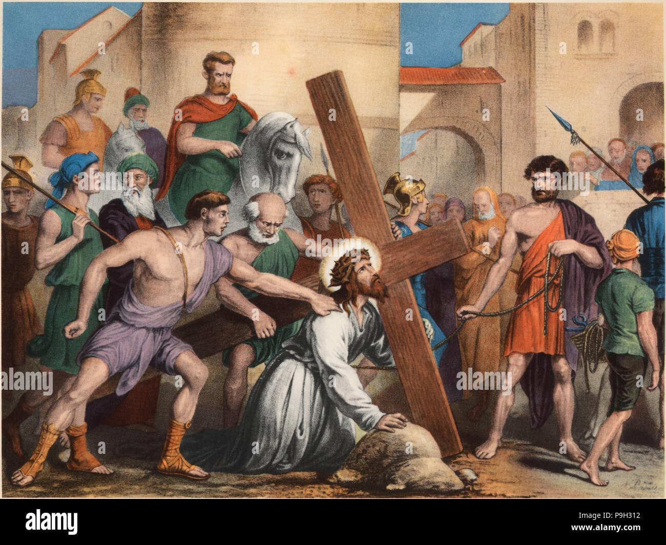 Via Crucis Tercera Estación Jesús Cae Por Primera Vez