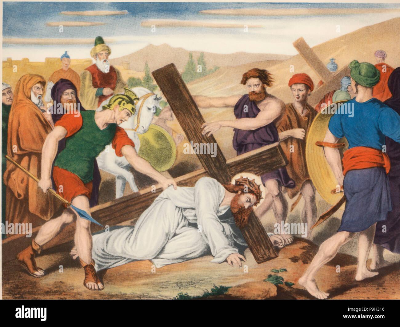 Via Crucis. Séptima Estación. Jesús cae por segunda vez. Dibujo por ...