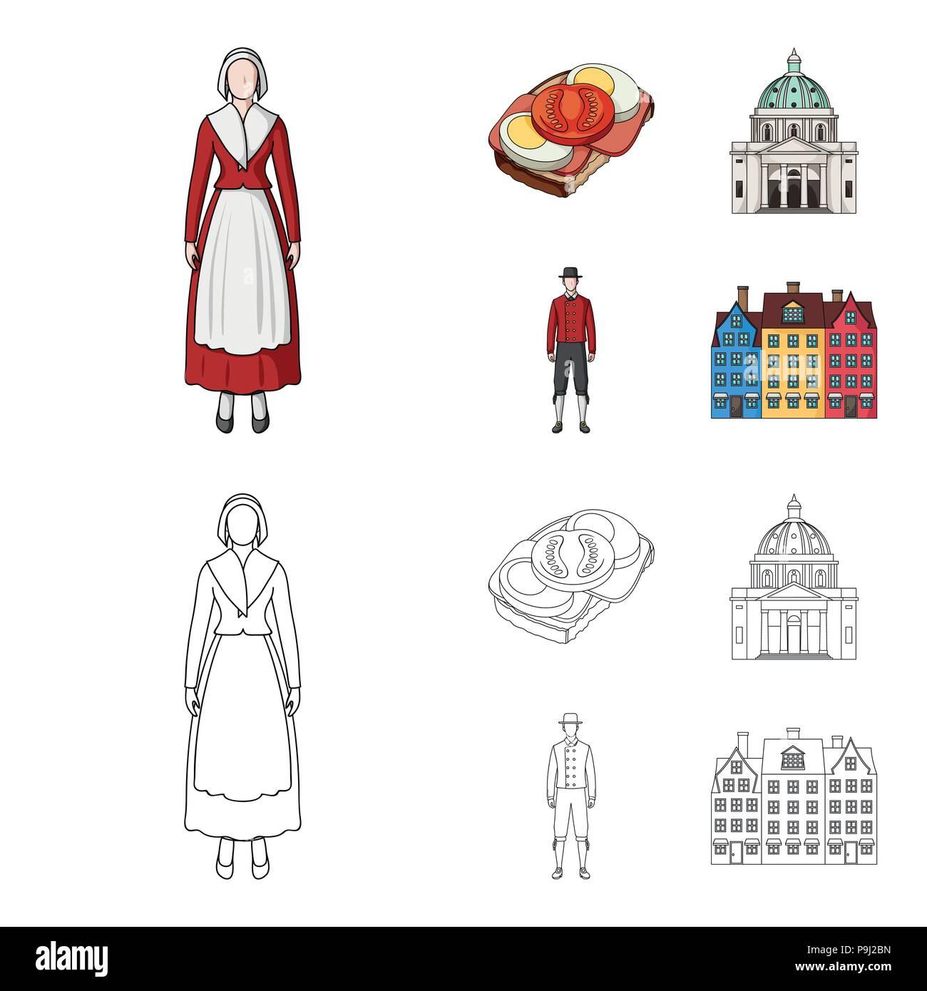 Dinamarca, historia, restaurante y otro icono de cartoon,el estilo de esquema.sándwich, comida, pan iconos en conjunto Ilustración del Vector