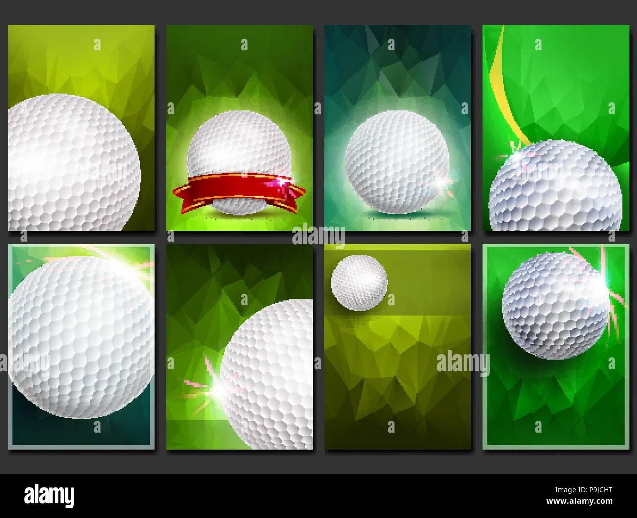 b482ecd26 Póster de Golf conjunto Vector. Plantilla vacía para el diseño. La  promoción. Pelota de golf. Torneo moderno. Anuncio de eventos deportivos.  Banner de ...
