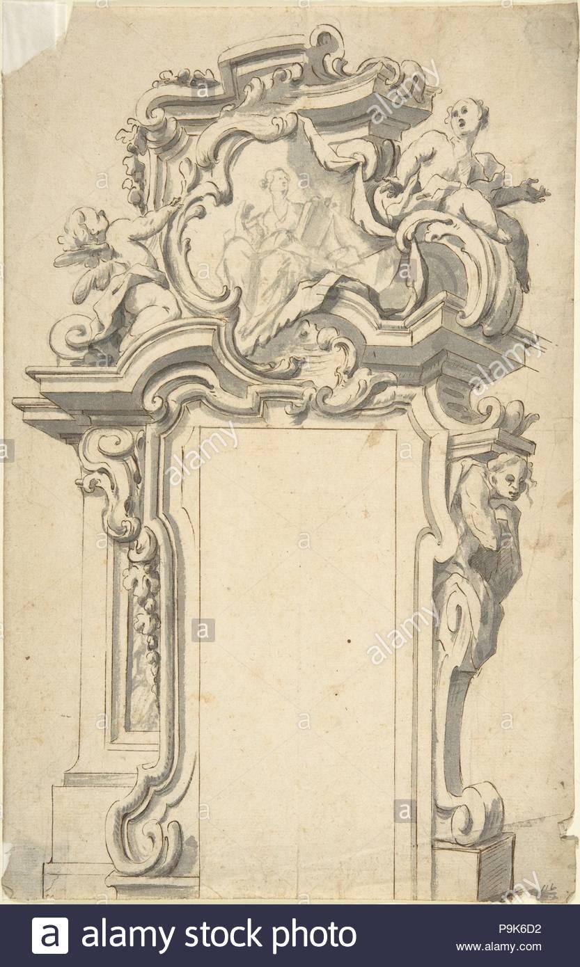 Dos diseños alternativos para un marco de puerta, 1700-1780, Lápiz y ...