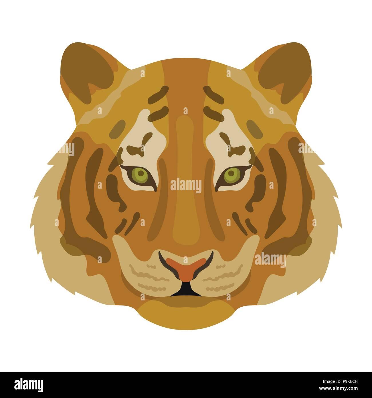 Icono De Tigre En Cartoon Diseño Aislado Sobre Fondo Blanco