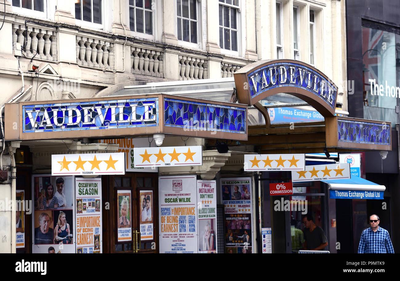 Una vista general del Vaudeville Theatre de Londres. Asociación de la prensa de la foto. Imagen Fecha: Miércoles 18 de julio de 2018. Crédito de la foto debe leer: Ian West/PA Cable Foto de stock