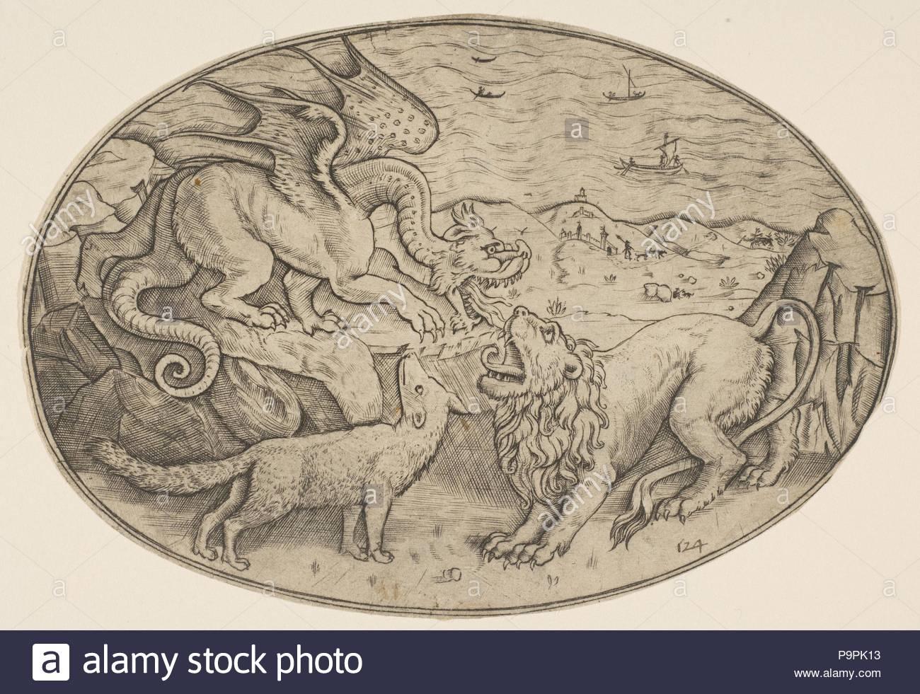 Un león, dragón y fox luchando unos contra otros, los barcos en el ...