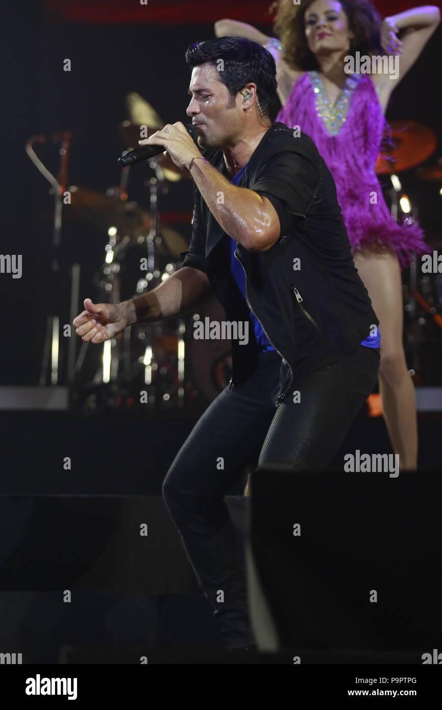 El bailarín, cantante y actor puertorriqueño Chayanne, durante la noche de su concierto en el eje en el Planet Hollywood en Las Vegas Nevada en 13 Sep 2015 Foto de stock