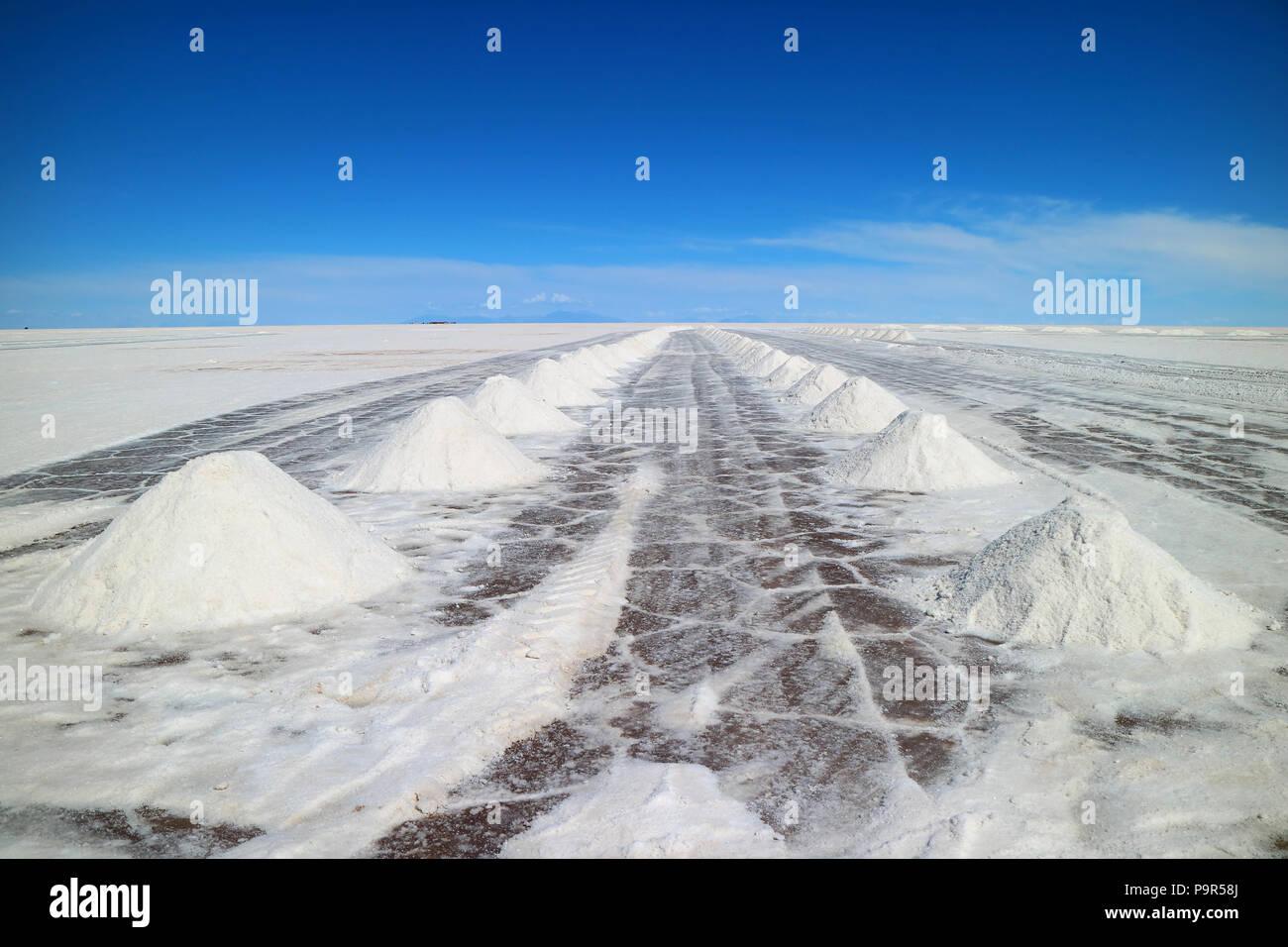 Vista en perspectiva de secado montones de sal en el salar de Uyuni o Salar de Uyuni en Potosí, Bolivia, América del Sur Imagen De Stock