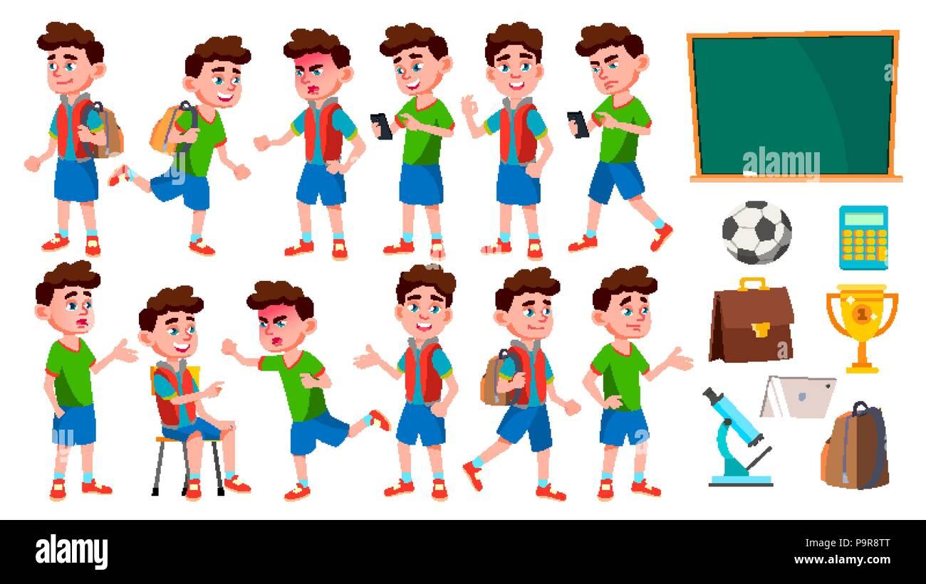 6f884205246 Boy colegial Kid plantea establecer Vector. Los niños de la escuela  primaria. Niño lindo. Disfrute de la felicidad. Animar, bastante.