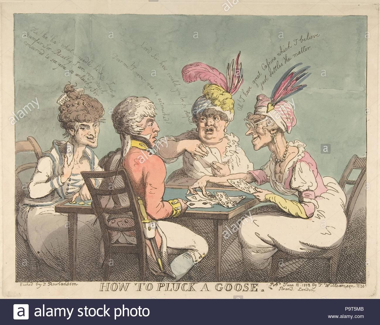 Como Desplumar Un Ganso 10 De Junio De 1802 Grabado Pintado A Mano