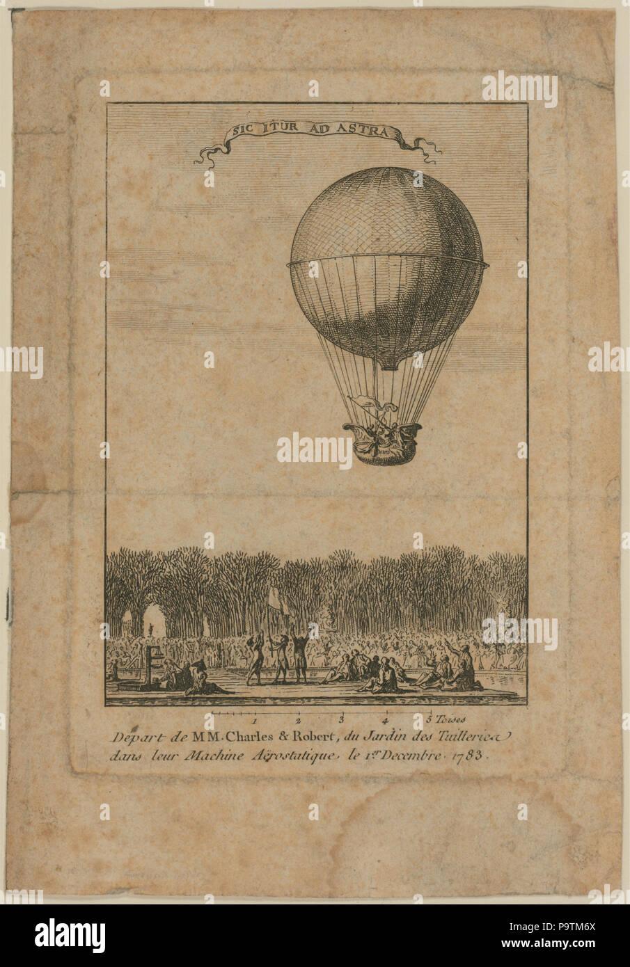 384 salen de MM. Charles y Robert, du Jardin des Tuilleries dans leur máquina aërostatique, le 1er Decembre 1783 LCCN2002721986 Foto de stock