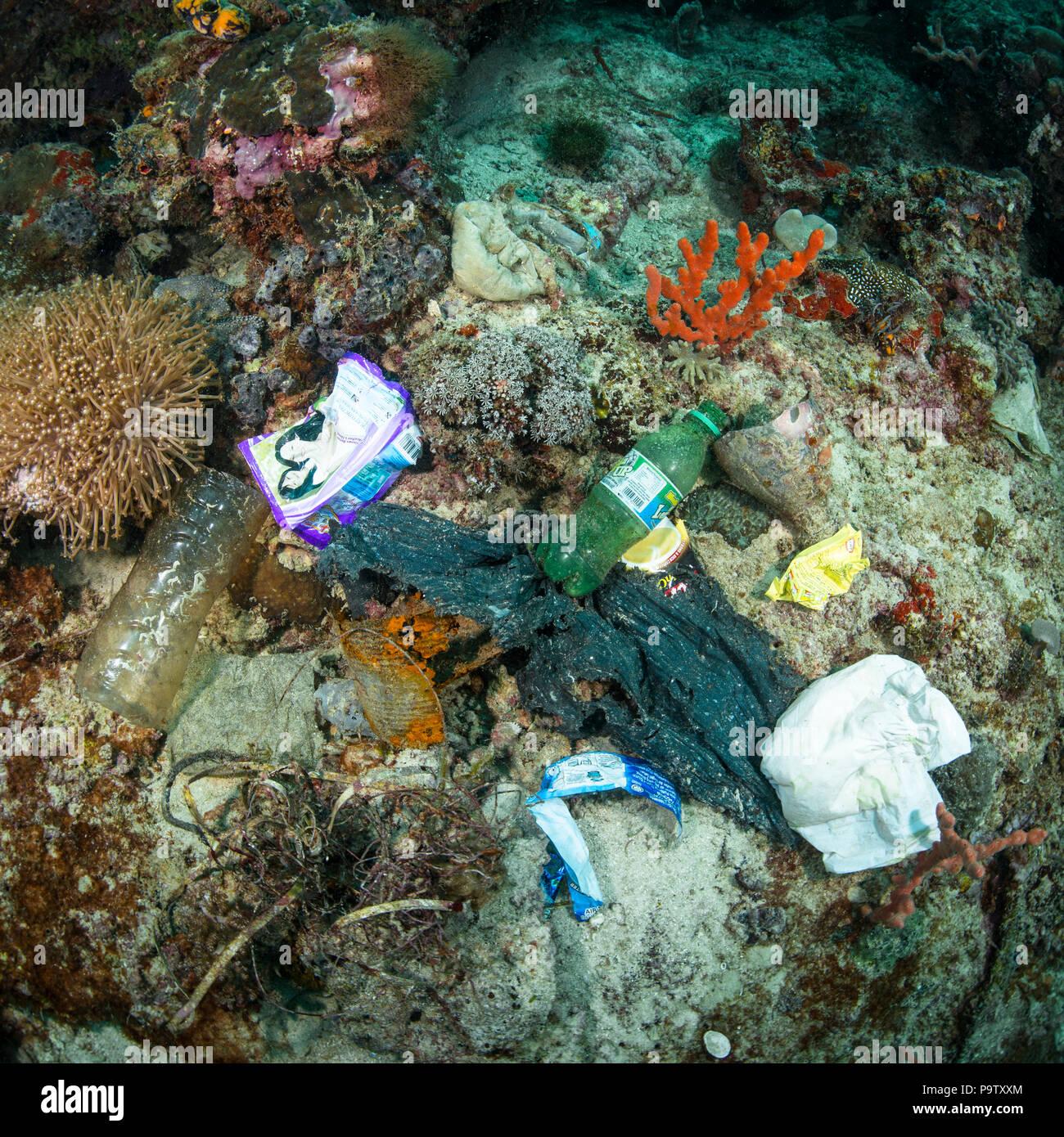 Fotografía submarina de contaminación de basura de plástico en los fondos marinos en un arrecife de coral en la isla de Mabul, Sabah, Malasia. Foto de stock