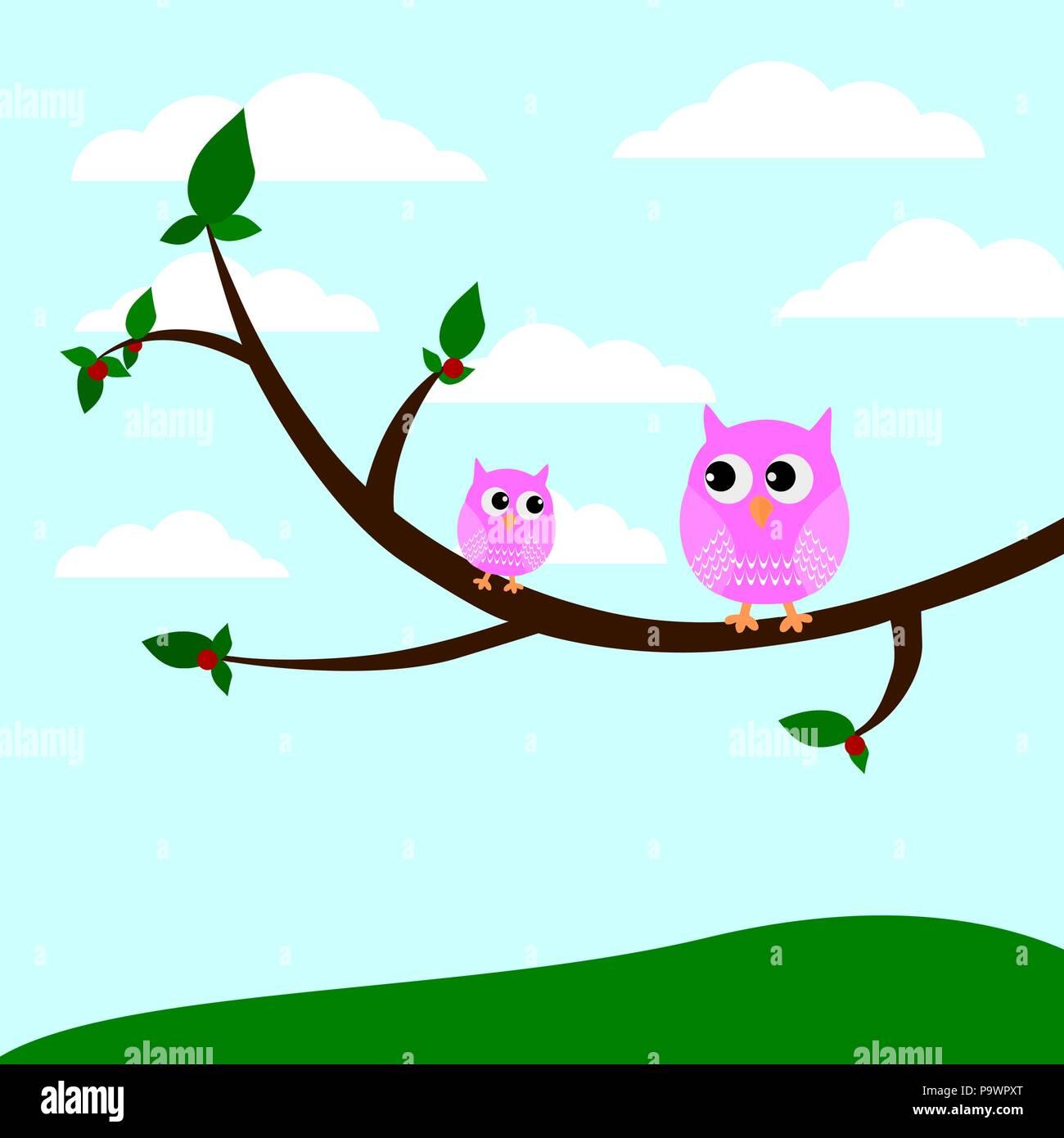 Dos Bonitas Búhos Sentado En Una Rama De Un árbol Vector Ilustración
