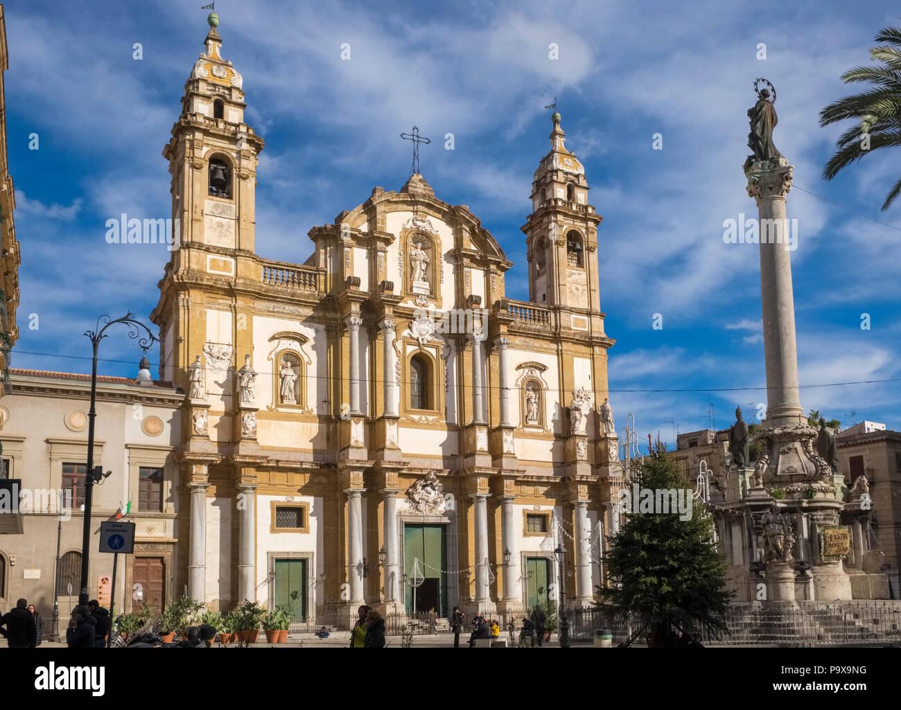 La iglesia de San Domenico de Sicilia, Palermo, Sicilia, Italia, Europa Imagen De Stock