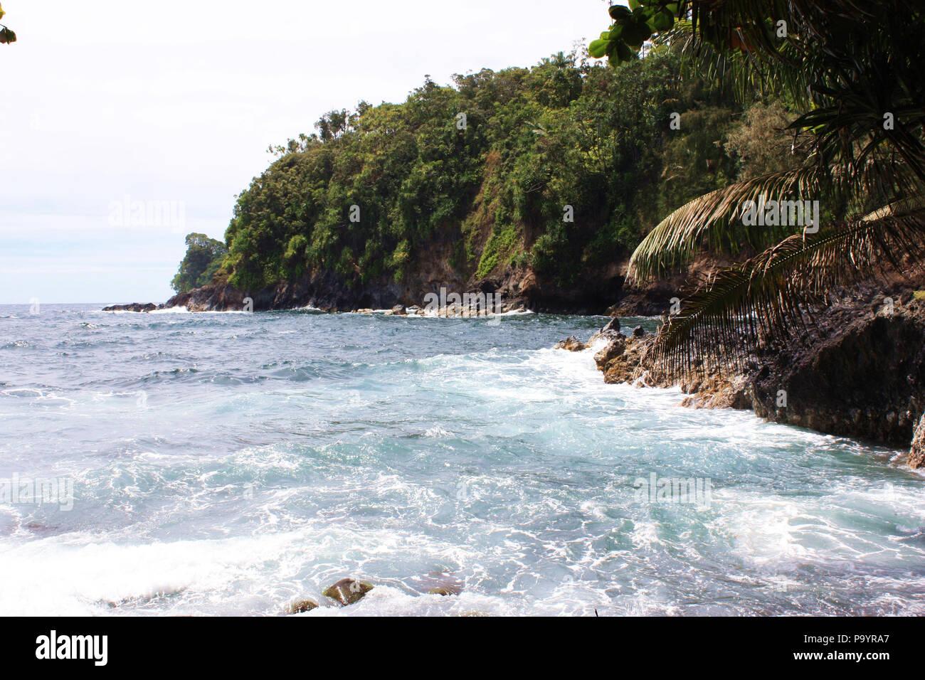 El Océano Pacífico en la Bahía Onomea en Papaikou, Hawai, bordeada de acantilados llenos de vegetación pesada Foto de stock