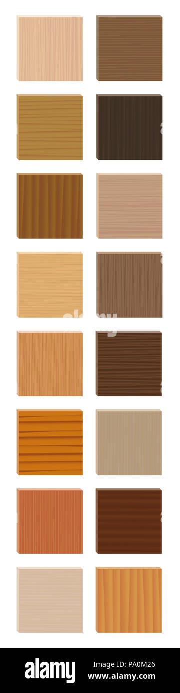 Las muestras de madera. Parquetry tabla resumen gráfico. Placas de madera con diferentes colores, esmaltes, texturas de diversas especies de árboles para elegir. Imagen De Stock