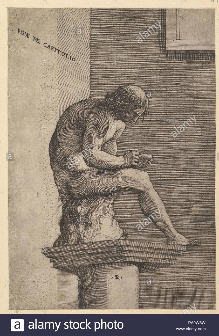 Speculum Romanae Magnificentiae: Man quitando una espina de su pie ...