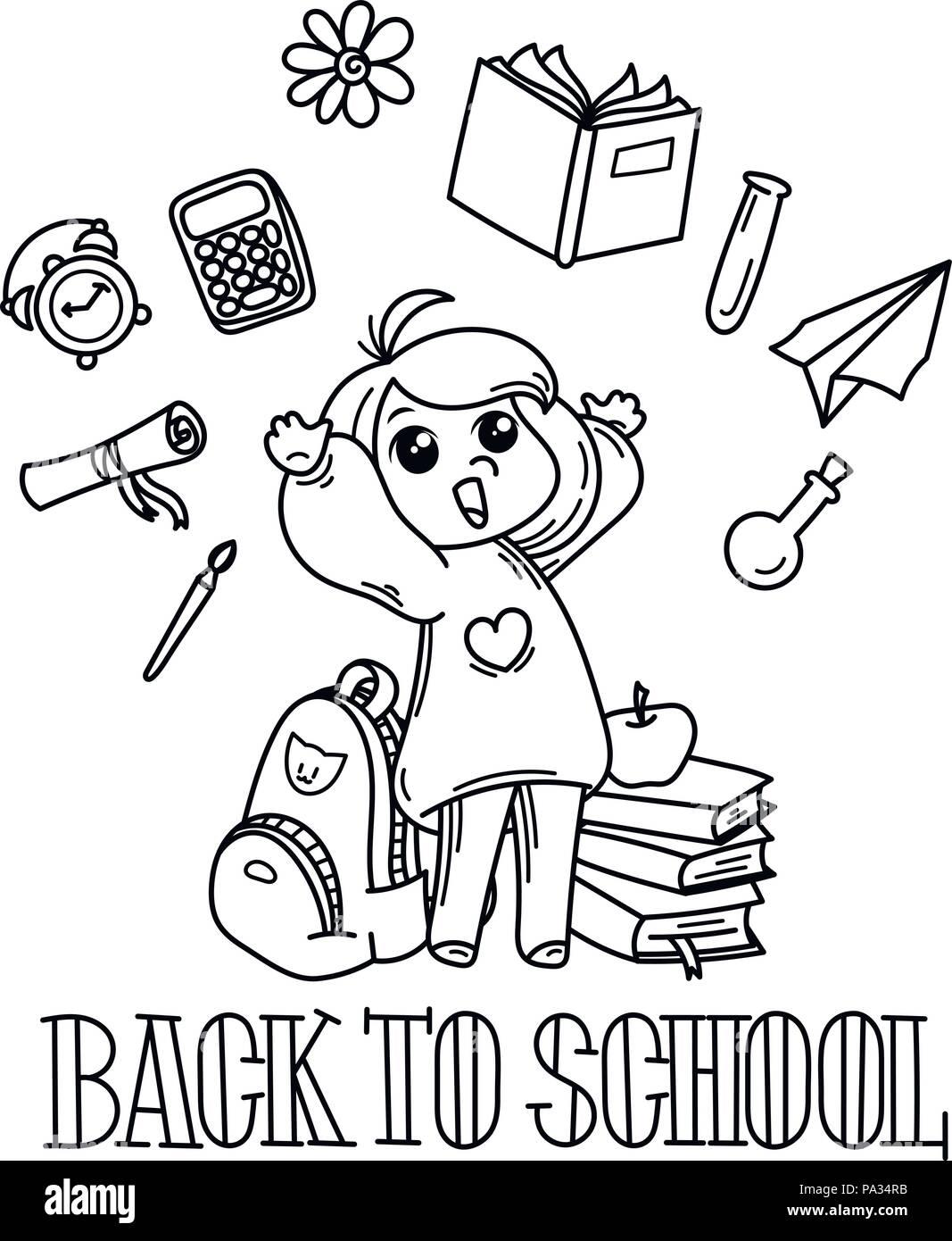 Bienvenido de nuevo a la escuela. Cute school kid listo para la ...
