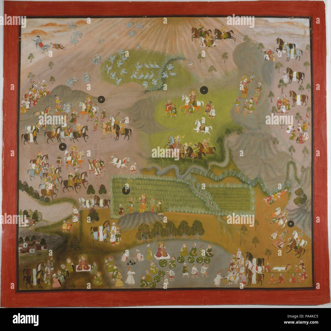 Maharajá Jagat Singh Halcones para grúas. Artista: Shiva y Dayal ...