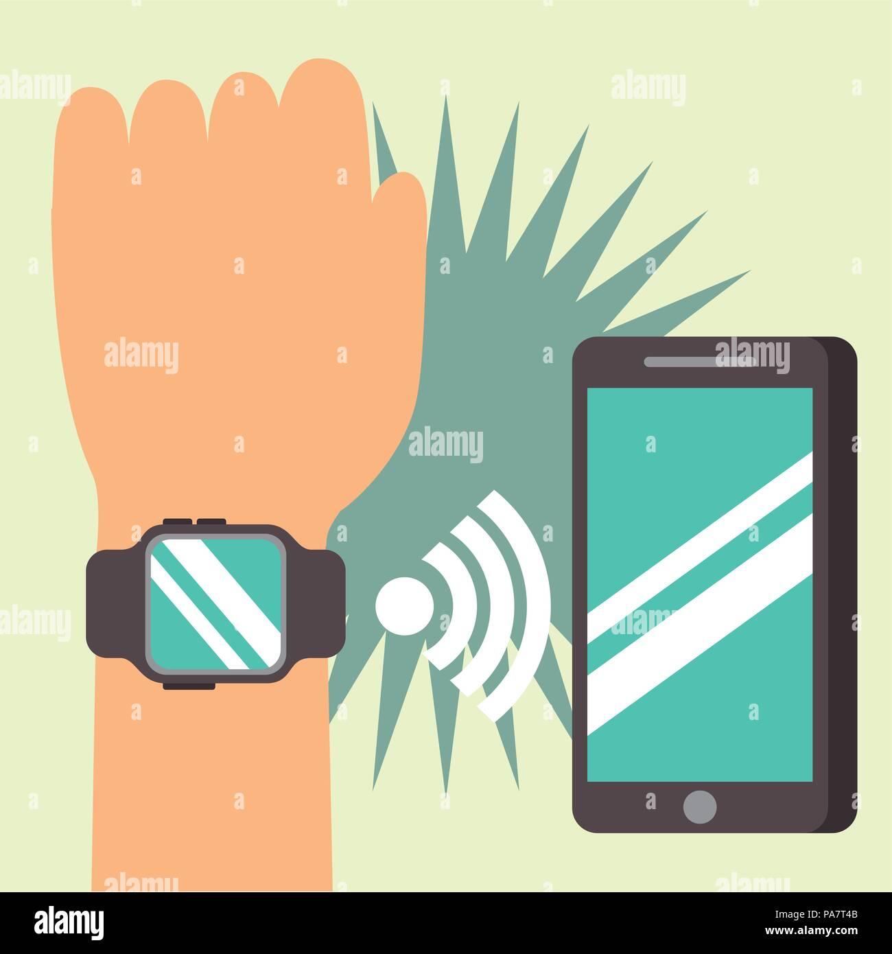 ed8c60bfa5a9 Tecnología de pago NFC mano usando la señal de reloj de pulsera smartphone ilustración  vectorial Imagen
