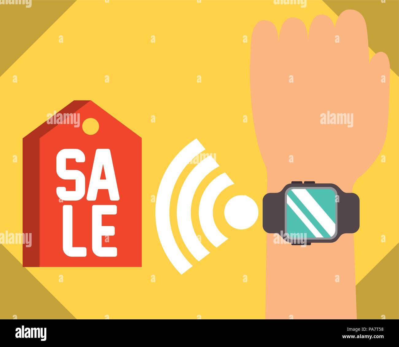 4dd27c191497 Tecnología de pago NFC mano con reloj de pulsera venta ilustración vectorial