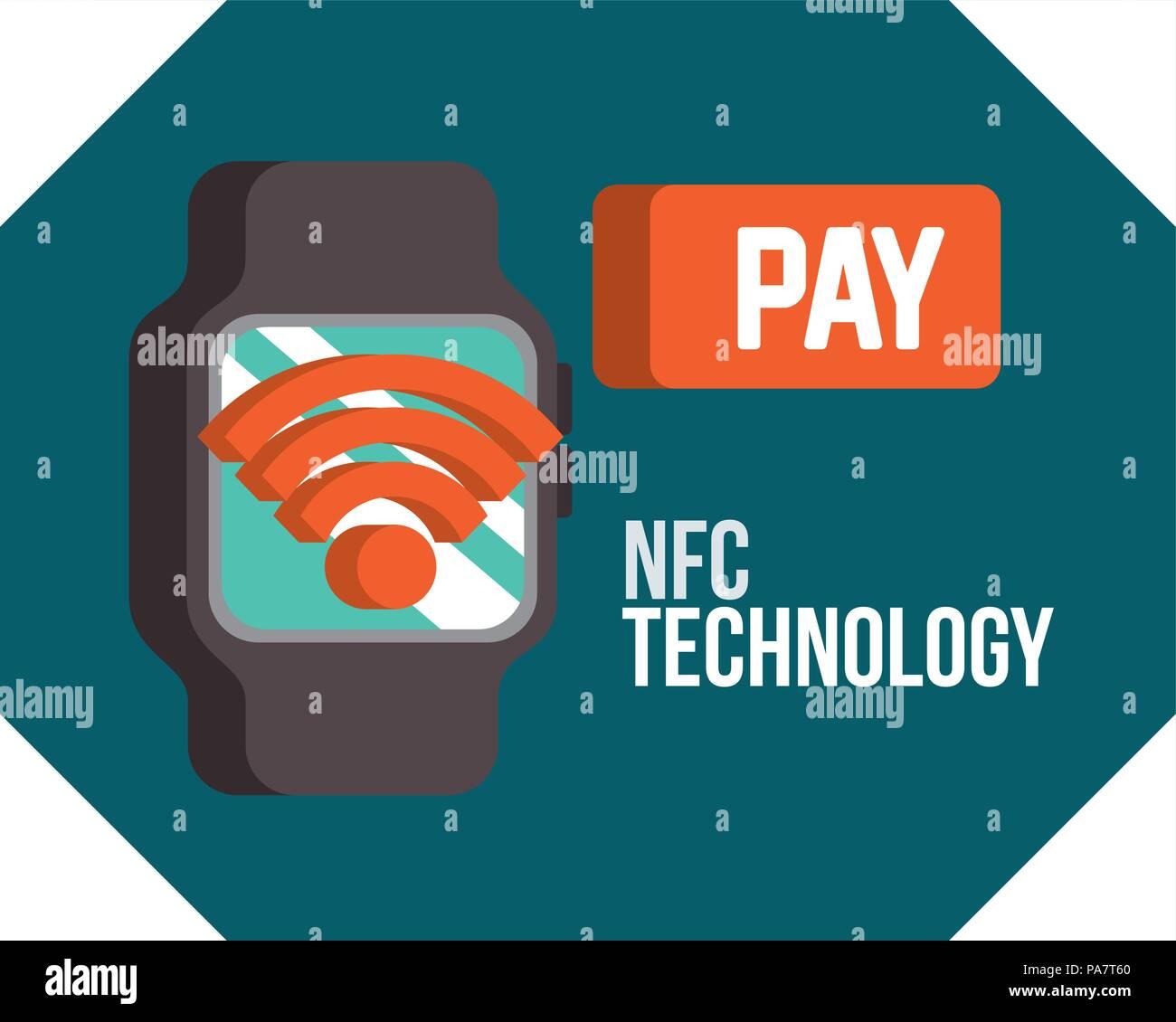 9601a82d7341 Tecnología de pago NFC reloj de pulsera señal wifi pagar ilustración  vectorial