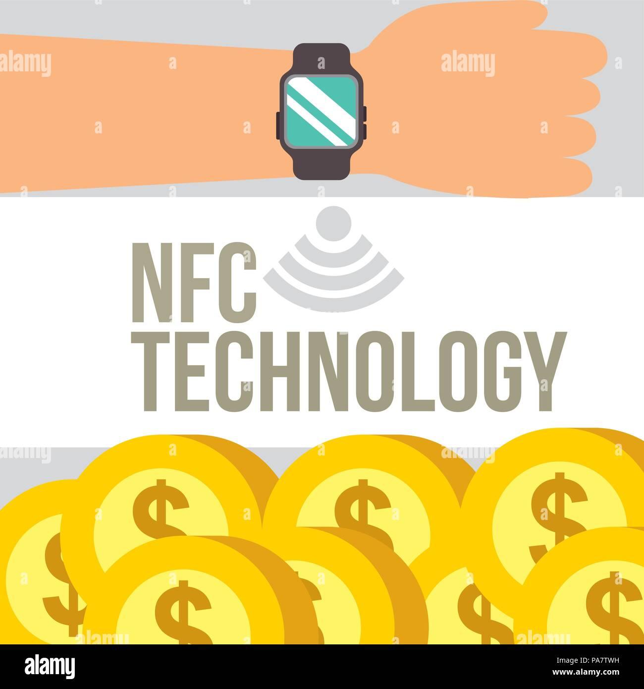 8aa7020ec89e Tecnología de pago NFC mano con reloj de pulsera muchas monedas ilustración  vectorial de fondo