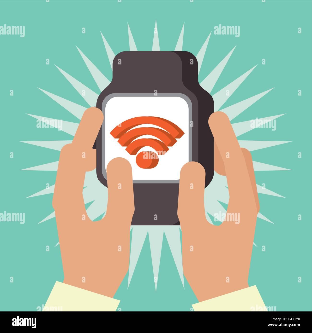047fbfd27d59 Tecnología de pago NFC mano sujetando la señal de reloj de pulsera pantalla ilustración  vectorial