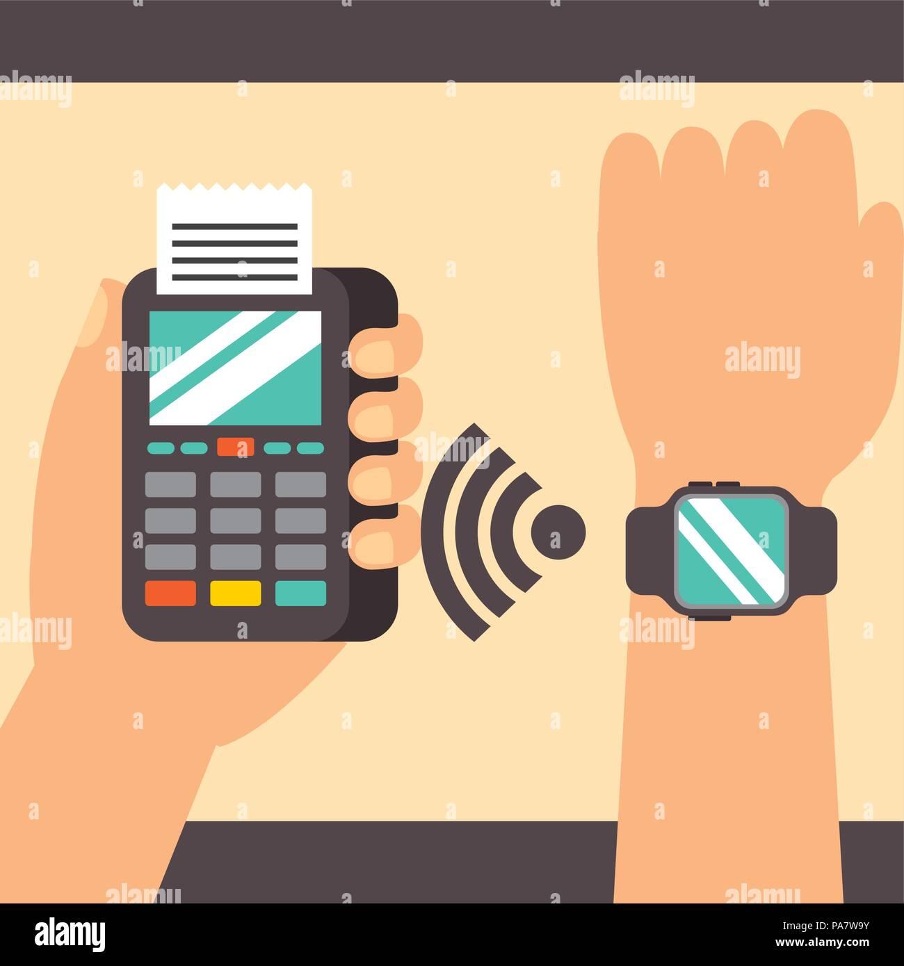 1780be5fc4fe Tecnología de pago NFC mano usando la señal de reloj de pulsera datáfono ilustración  vectorial Imagen