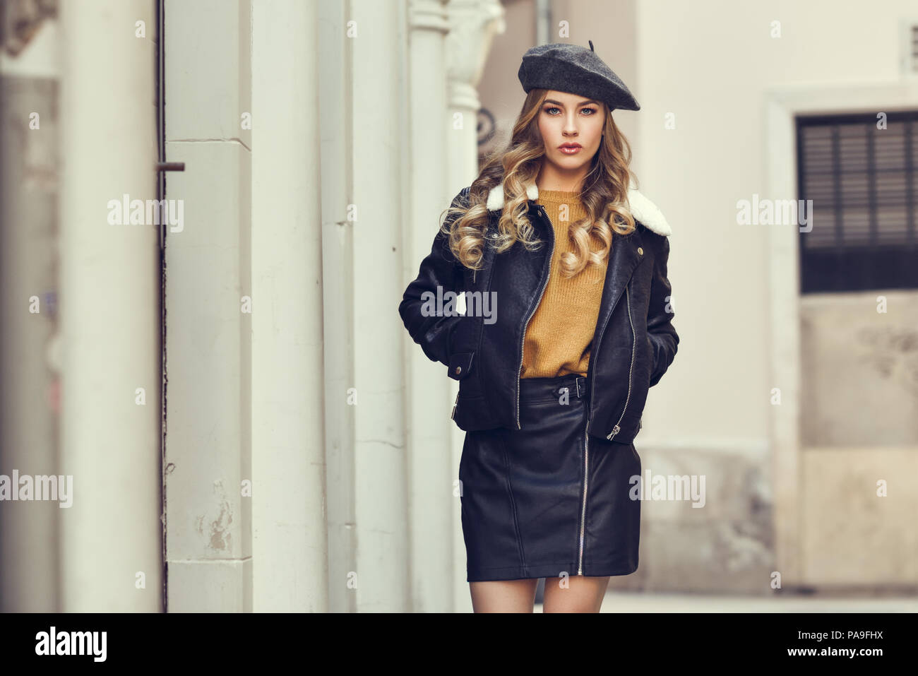 bf40420fe7b25 Girl In Leather Jacket And Skirt Imágenes De Stock   Girl In Leather ...