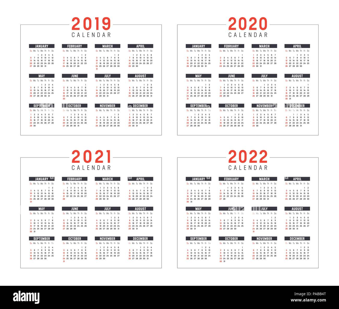 Calendario De Semanas.Conjunto De Calendarios Minimalista Anos 2019 2020 2021 2022