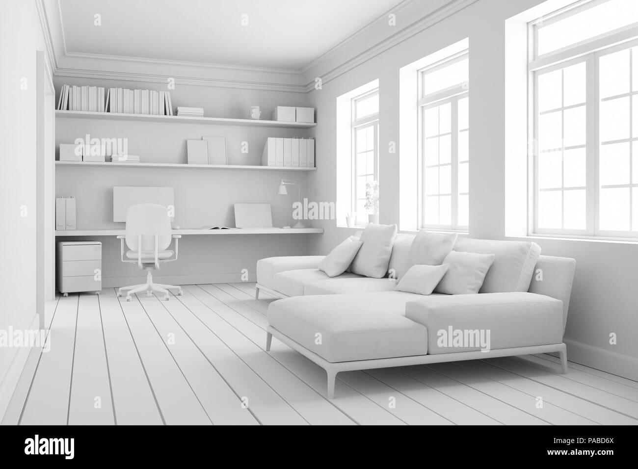 Modelo De Oficina De Casa Habitación Diseño De Interiores 3d