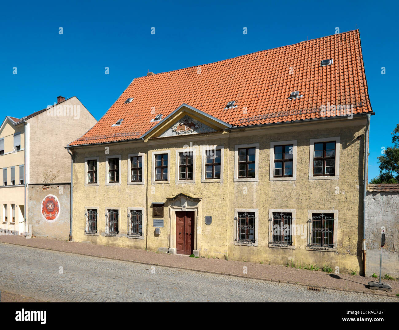 Lugar de nacimiento de Joachim Ringelnatz, que nació aquí en el 7.8.1883 como Hans Gustav Bötticher, Rigelnatzstadt Wurzen, Sajonia Imagen De Stock