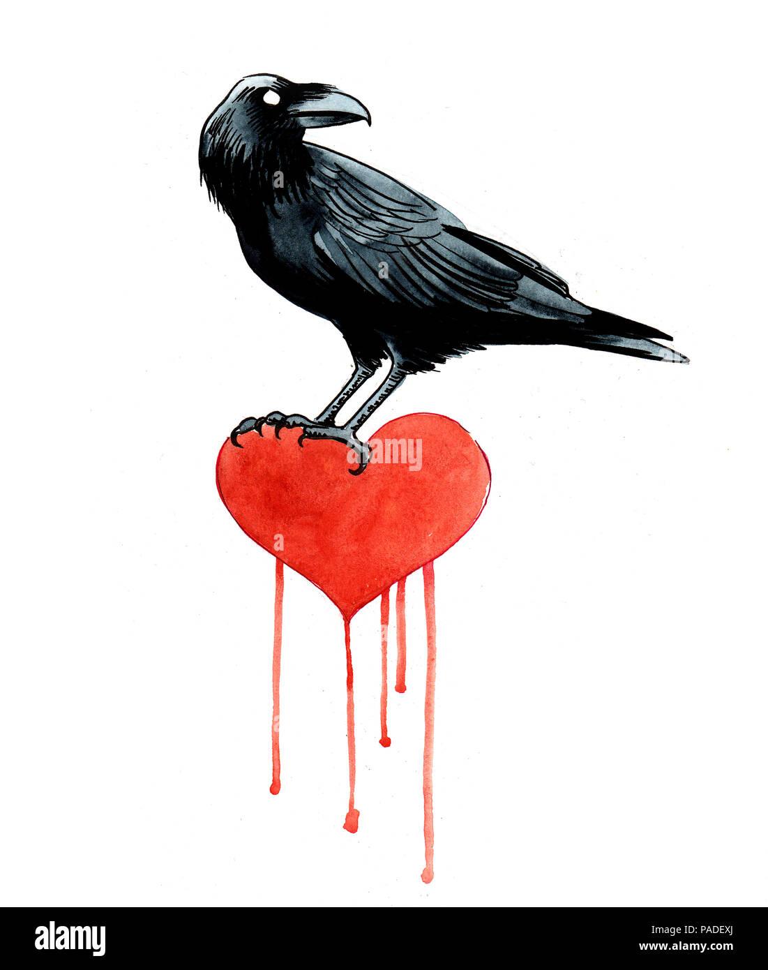 Cuervo Negro Y Rojo Corazón Sangrando Tinta Y Acuarela Ilustración