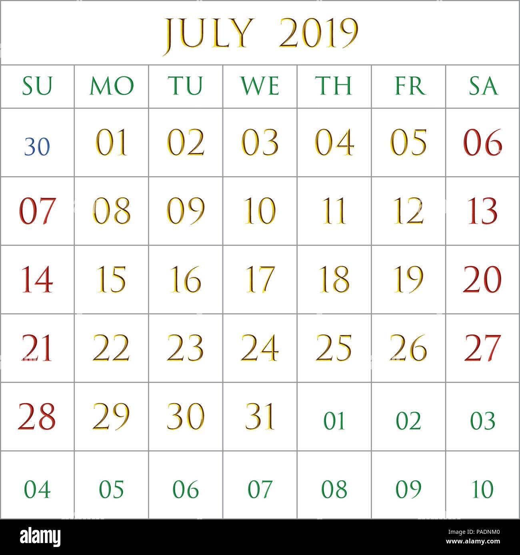Mes De Julio Calendario.2019 Calendario Del Mes De Julio Sobre Fondo Blanco