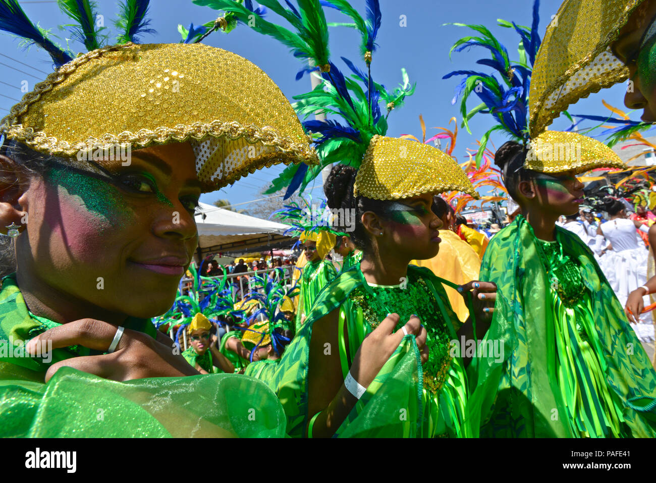Ritmo del pajarito (bird's rythm). La batalla de flores, el Carnaval de Barranquilla. Foto de stock