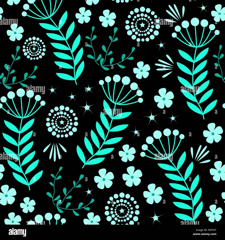 Vector Floral Patron Sin Fisuras Con Flores Azules Sobre Un Fondo